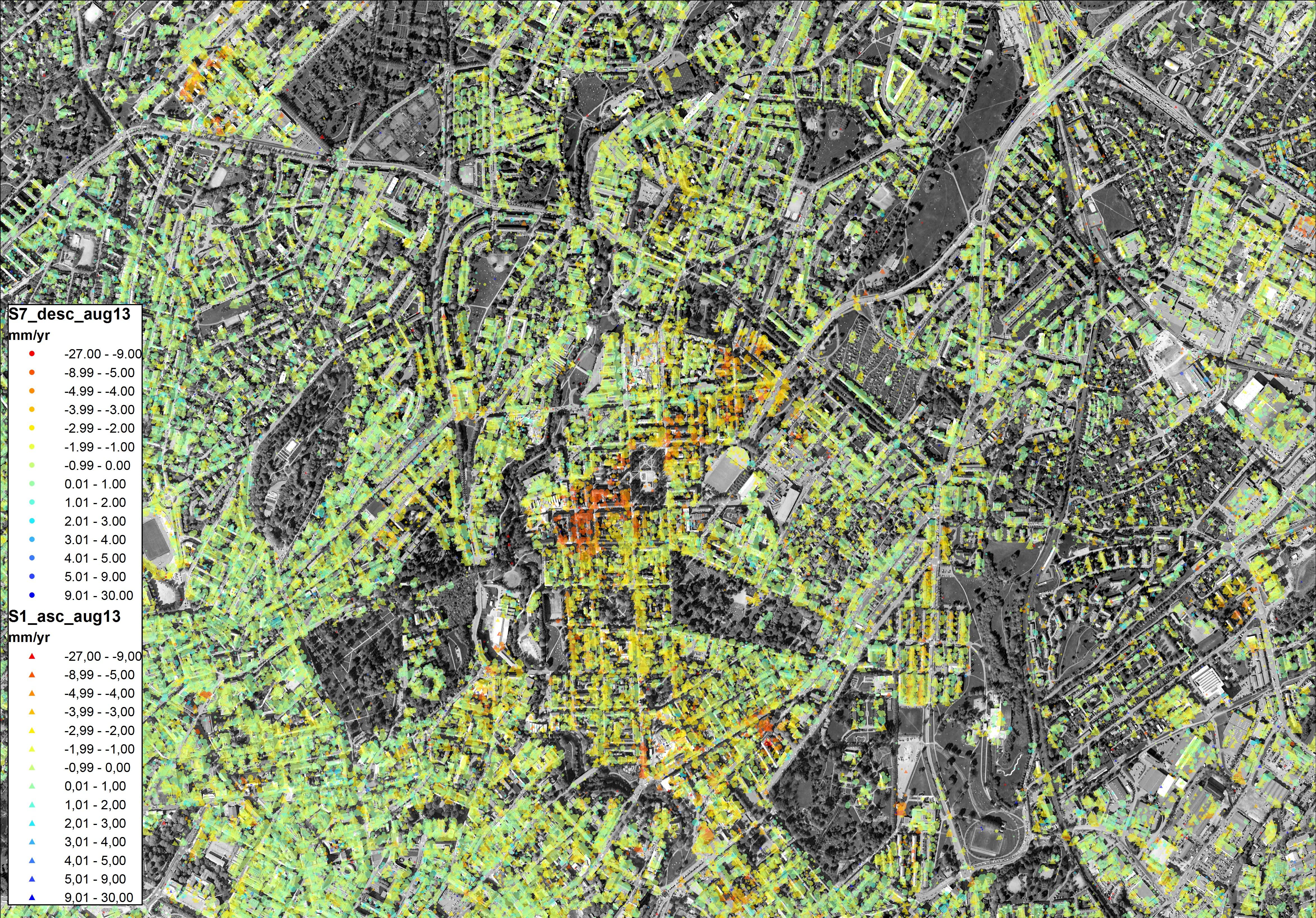 Radarbildet viser at deler av Oslo synker (oransje og rødlige deler av kartet). Foto: NGU/Norut.