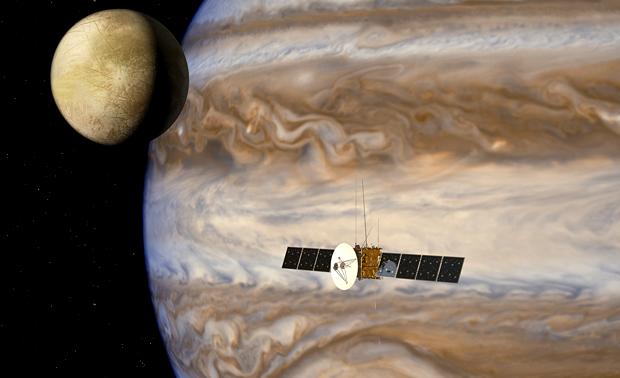 Den europeiske sonden JUICE ved Jupiter. Grafikk: ESA/AOES