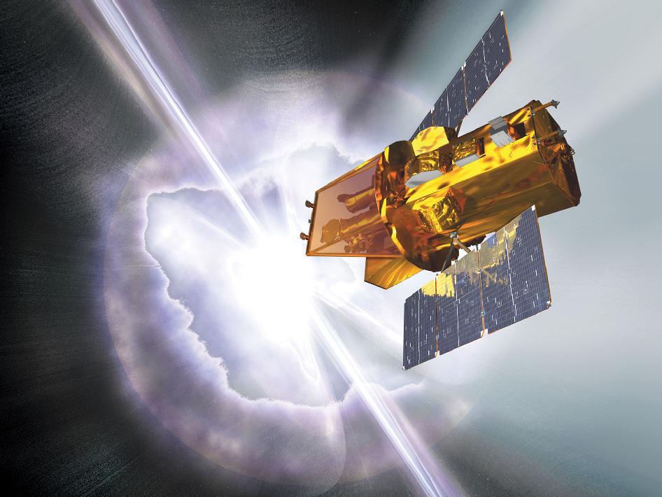 Illustrasjon av romteleskopet Swift. Ill.: Spectrum Astro.