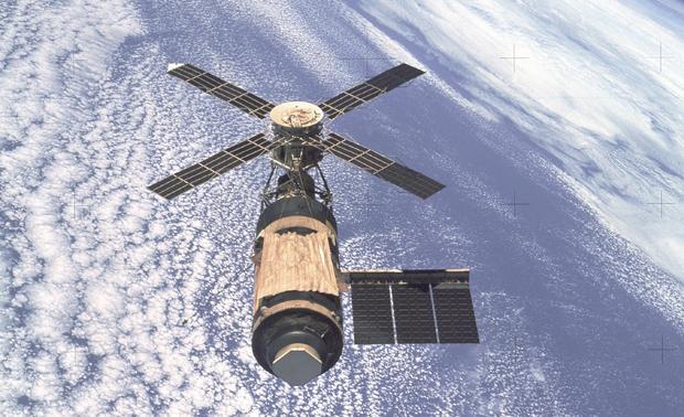 Skylab, den første amerikanske romstasjonen, var i bruk fra mai 1973 til februar 1974. Foto: NASA
