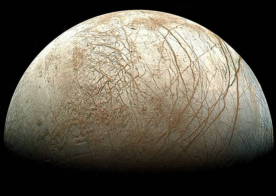 Jupiters måne Europa. Foto: NASA.